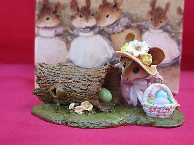 Vintage Boxed WEE FOREST FOLK Mouse Figurine & Box- Easter Egg Hunt Basket