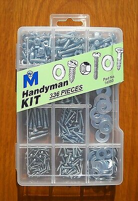 Handyman Kit 336 Pieces by Midwest Fastener 14993 Nuts Bolts Washers Screws