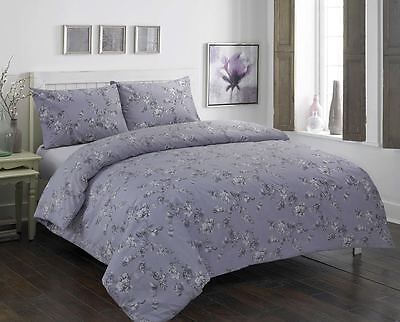 Duvet Cover & Pillow Case Bedding Polly-cotto Set GLAIRE GREY DESIGN SIZE KING