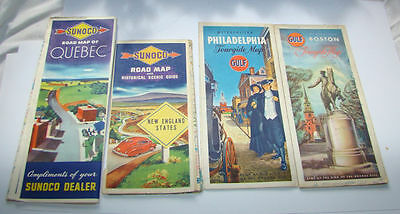 Vintage  Lot Of 4 1940's Road Maps Sunoco And Gulf