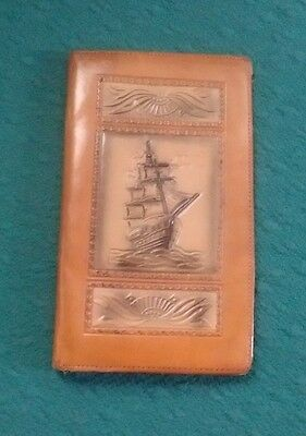 Vintage Tooled Brown Leather Wallet with Embossed Sail Boat Ship