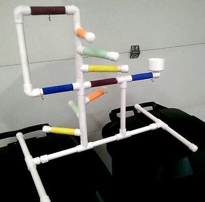 """Deluxe Large 3/4"""" PVC Parrot Perch  Stand  Play Gym ** Birds Love Them!"""