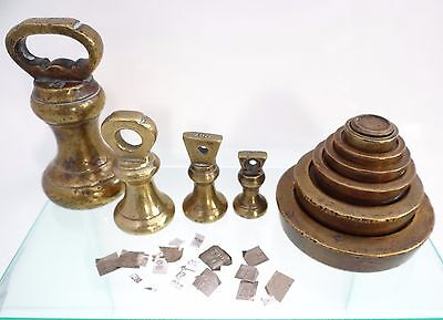Antique Vr English Victorian Brass Scale / Bell Weights Including Fine Chemistry