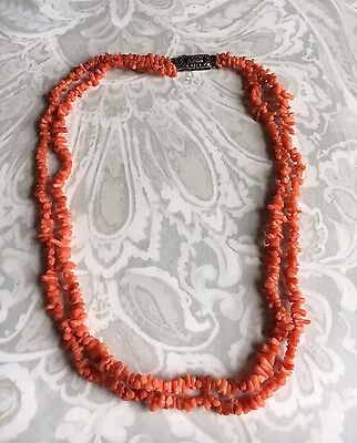 Vintage Coral Necklace Double Stranded with Sterling Silver Marcasite Clasp.