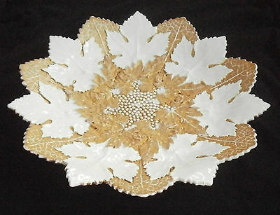Rare Antique Meissen Gold & White Maple Leaf / Leaves Plate / Dish