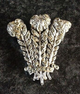 Antique Vintage Beautiful Solid Silver Marcasite Three Feathers Brooch- Vgc
