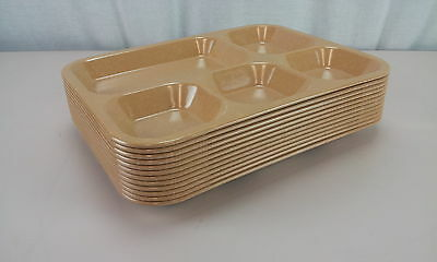 Halsey Melamine 5 Compartment Mess Tray Tan Set of 12