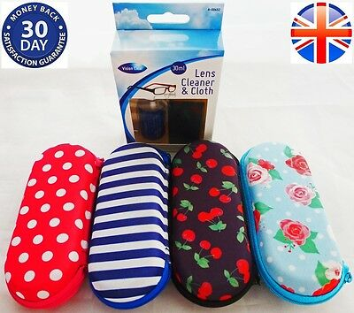 Glasses Zipped Case And Glass Cleaner Spectacle Case Microfibre Cloth Spray