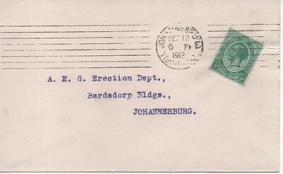 South Africa - 1913 GV cover to Johannesburg