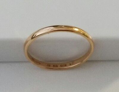 22ct Carat ROSE GOLD Plain D Shaped Wedding Band Ring (Size M 1/2)