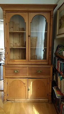 Antique Pine Dresser / Cupboard Glazed Display Cabinet 2 Drawers