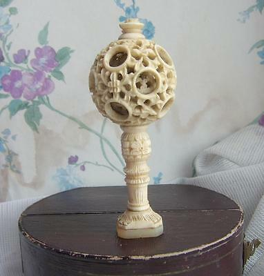 Unusual ANTIQUE Carved CHINESE Puzzle Ball Handle Mother of Pearl SEAL Stamp