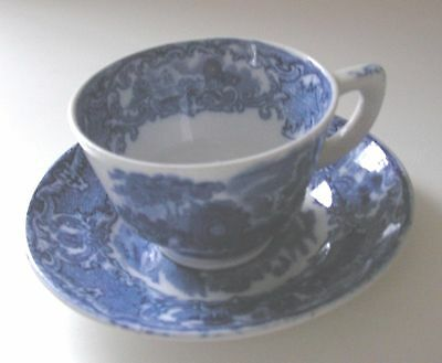 Antique  George Jones & Sons Abbey Blue & White Tea Cup & Saucer