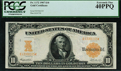 1907 $10 Gold Certificate FR-1172 - PCGS 40PPQ - Extremely Fine - Teehee / Burke