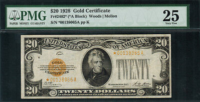 1928 $20 Gold Certificate FR-2402* - Star Note - Graded PMG 25 - Very Fine