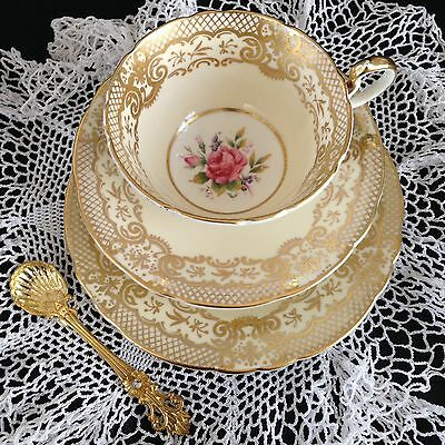 Aynsley China Vintage Cup Saucer Plate Trio Roses Gilding 7805