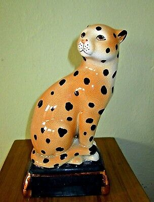 """VTG Takahashi Leopard Cat One Replacement Bookend Green & Gold Base 8"""" Tall"""