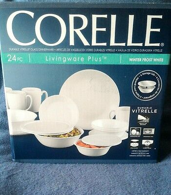 CORELLE Dinnerware Set Livngware Plus 24 PC Set WHITE Vitrelle Durability