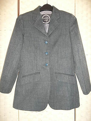 Sz 28- 30 BOY or GIRL Green Tweed showing, hunting hacking jacket EXCELLENT Cond