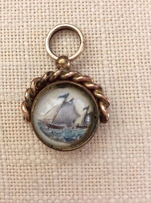 Antique Spinner Gold Watch Fob Sailboats Carnelian Stone Charm