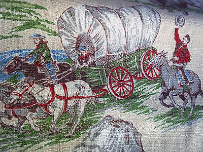 Pair vintage barkcloth western cowboy 1950's cotton fabric drape curtain panels!
