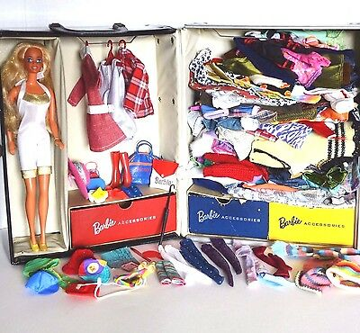 Vintage Barbie case 1961 Ponytail + clothing lot accessories doll from 80-90's