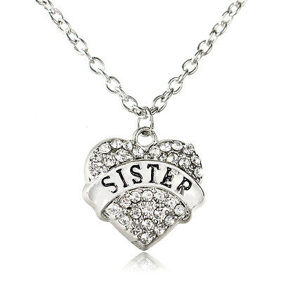 Clear New Family Crystal Heart Sister Pendant Necklace Chain Charm Jewelry Gift