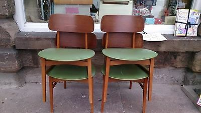 1950s/ 60's real Vintage Beautility Kitchen Dining Chairs Green Vinyl x4