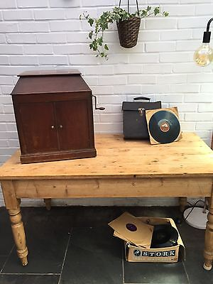 Antique Vintage Solid Wood Mahogany Wind Up Record Player 1930s Era