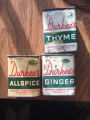 Lot of 3 Vtg vintage Durkee's  spice Allspice Thyme And Ginger.