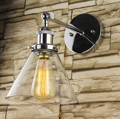 INDUSTRIAL RETRO VINTAGE CHROME Triangle GLASS Shade Pendant Wall Light Ceiling
