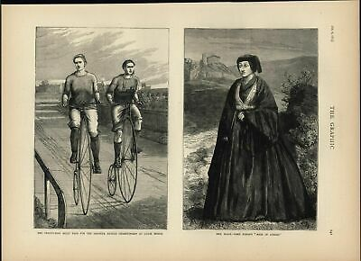 Amateur Bicycle Championship Lord Byron Maid Athens 1875 antique engraved print