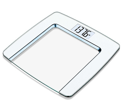 Beurer Glass Digital Bathroom Body Fat Weight Scale LCD Fitness Display, White