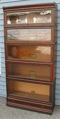Oak Globe Wernicke Barrister Bookcase With Drawer Old Lawyers Sectional Antique
