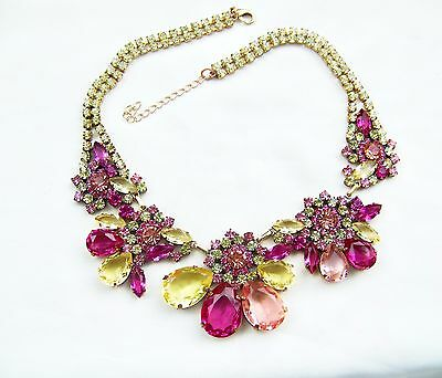 Vintage Style Czech Pink,Yellow & Crystal  Rhinestone Couture Bib & Earrings