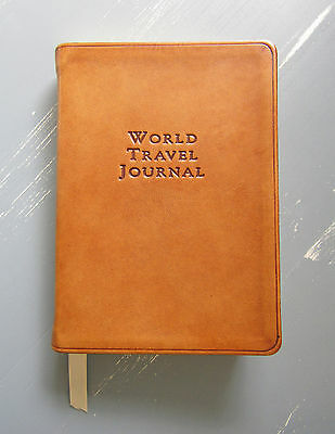 """Graphic Image British Tan Brown Leather 6"""" World Travel Journal Gold Edges Maps"""