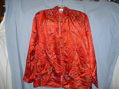 Classic Red Chinese Jacket Blouse Fancy Pattern Long Sleeves XL