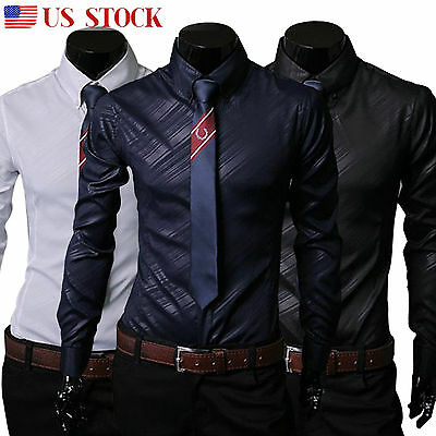 Luxury Mens Long Sleeve Casual Dress Shirts Formal Slim Fit Glossy Tee Tops