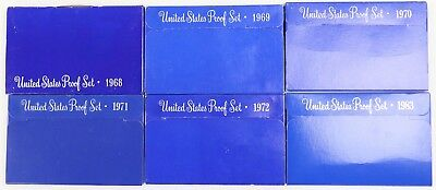 1968-1969-1970-1971-1972-1983 S U.S. Mint Proof Sets 6 Blue Box Lot