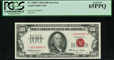 "1966 $100 Legal Tender FR-1550* - ""Red Seal"" ""Star Note"" - Gem New - PCGS 65PPQ"