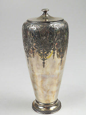 Antique Wilcox Silverplate Urn PAISLEY Pattern Cover Lid Stunning Unusual Vase