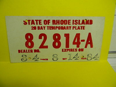 Vintage 1984 State Of Rhode Island Temporary License Plate Dealer Ri 82814 - A