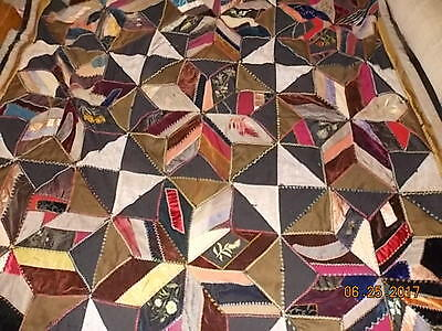 Amazing Vintage QUILT Handmade Crazy Quilt with 2 Pillows Handmade