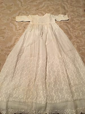 Vintage Child's Baptismal Gown~Dress~Embroidered Creamy White Batiste Fabric
