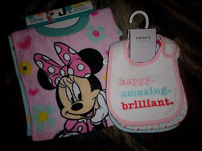 NWT Carter's Disney baby toddler girl 6pc BIB lot Minnie Mouse hearts pink green
