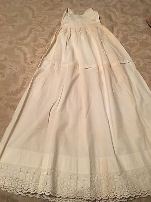 Vintage 1900's Baptismal Christening Dress~Cotton Embroidered Lace