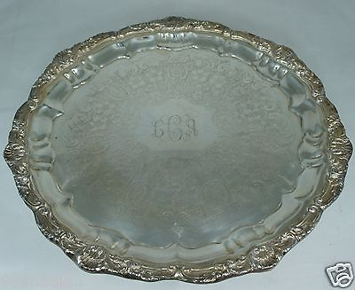 Antique Round Old English Silver Plate Tray,footed,shell Ornate,poole,mono