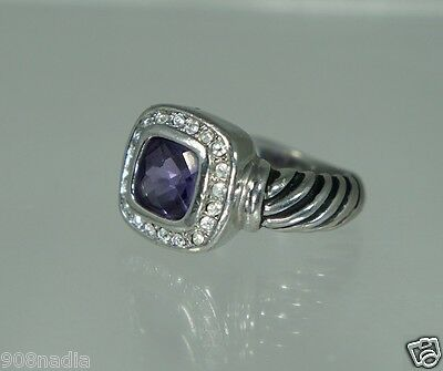 Vintage Silver Plated,lavender & Clear Crystal Solitaire Square Ring Size 6