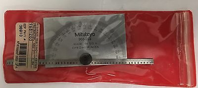 """Mitutoyo 968-203 Rectangular Base Protractor, 6"""" Arm with Graduation Rule"""