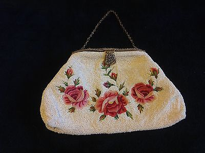 Antique Micro-Beaded and Embroidered Purse - Made in France